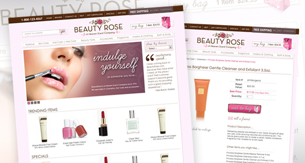 BeautyRose.com Custom Website Design
