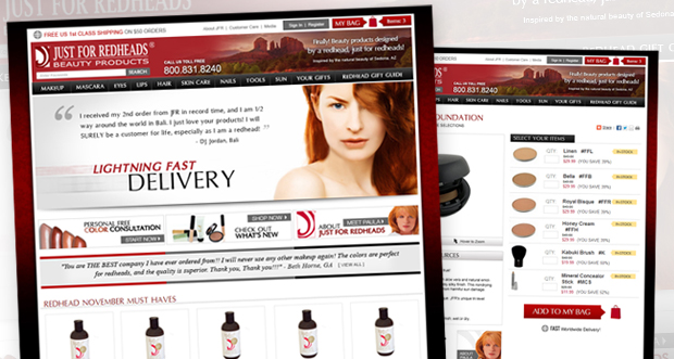 JustForRedHeads.com Custom Website Design